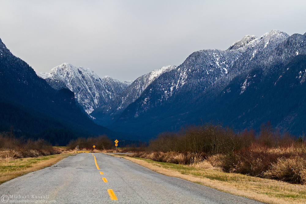 The road to Pitt Lake & Grant Narrows Regional Park in Pitt Meadows, British Columbia, Canada