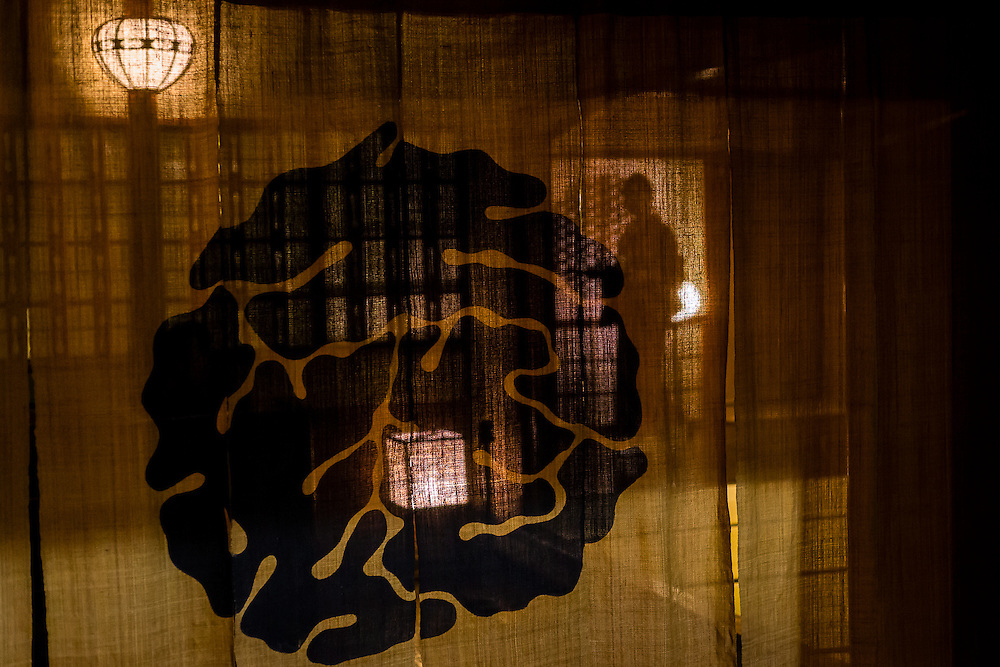 In the district of Pontocho, in Kyoto, a shadow passes through a doorway behind a traditional nori curtain