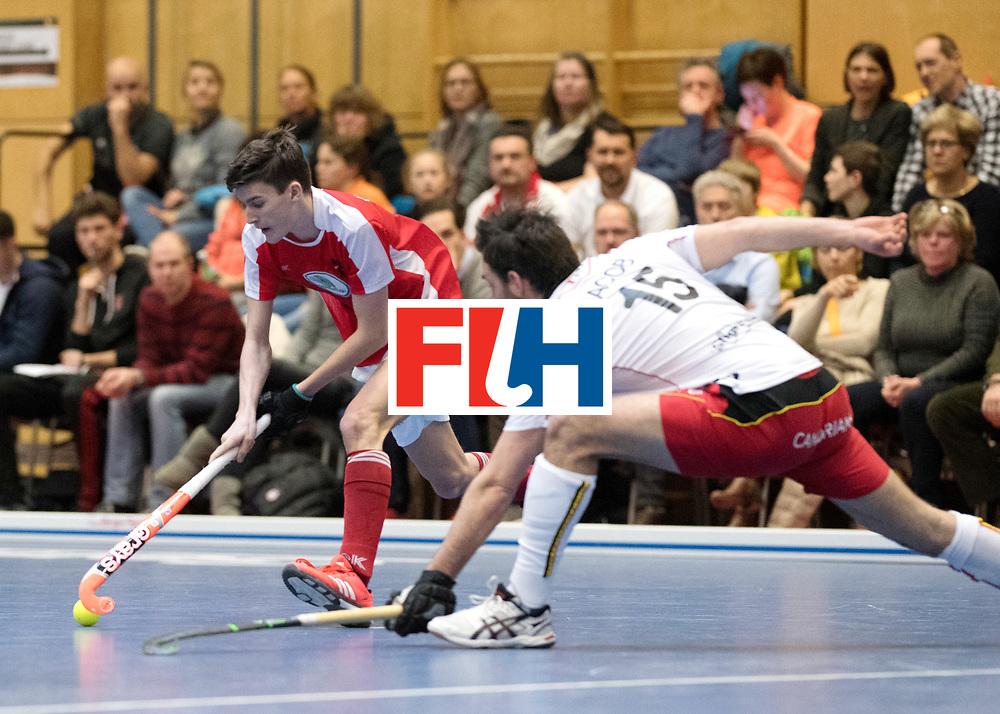 BERLIN - Indoor Hockey World Cup<br /> Austria - Belgium<br /> foto: UNTERKIRCHER Fabian and JACOB Gilles<br /> WORLDSPORTPICS COPYRIGHT FRANK UIJLENBROEK