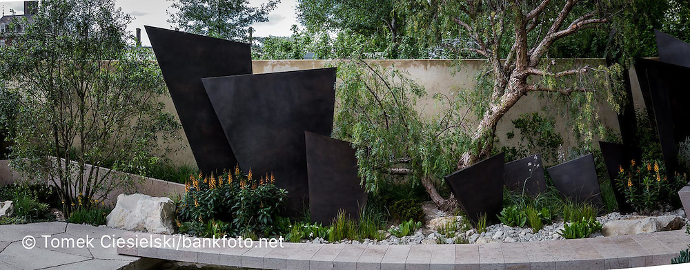 The Telegraph Garden, view of stone patio, stone seating, bronze fins sculpture, Isoplexis canariensis.  Designer: Andy Sturgeon