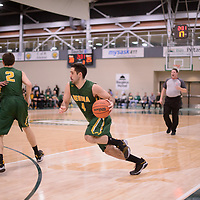 5th year guard Alex Igual (4) of the Regina Cougars in action during the Men's Basketball home game on January  20 at Centre for Kinesiology, Health and Sport. Credit: /Arthur Images