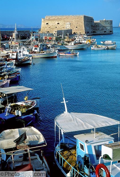 Heraklion, Crete, Greece: Venetian Fortress, Old Harbor boats.
