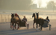 Town of Wallkill, New York - Harness racing horses work out on a cold morning at the Mark Ford Training Center on Dec . 12, 2011.
