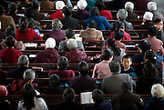 A congregation of Chinese Christians at a Sunday service in Pucheng, Shanxi.
