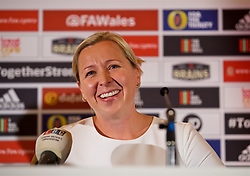 CARDIFF, WALES - Thursday, August 9, 2018: Wales manager Jayne Ludlow announces her squad for the final FIFA Women's World Cup 2019 Qualifying Round Group 1 match against England at the Eisteddfod in Cardiff Bay. (Pic by David Rawcliffe/Propaganda)