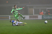 Forest Green Rovers Elliott Frear(11) is tackled during the Vanarama National League match between Forest Green Rovers and Dover Athletic at the New Lawn, Forest Green, United Kingdom on 17 December 2016. Photo by Shane Healey.