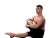 caucasian man gymnastic stretching posture warm up isolated studio on white background