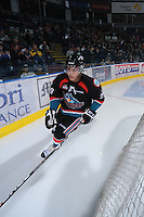 KELOWNA, CANADA, OCTOBER 5: Myles Bell #29 of the Kelowna Rockets warms up against the Tri City Americans on October 5, 2011 at Prospera Place in Kelowna, British Columbia, Canada (Photo by Marissa Baecker/shootthebreeze.ca) *** Local Caption ***Myles Bell;