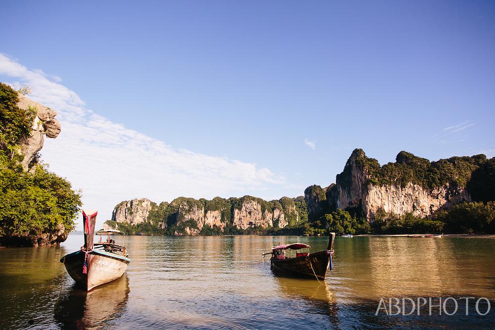 longtail boats at railay (railei) beach krabi rayavadee resort