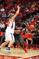 08 November 2015: Shane Seniour(32) tries to take away the baseline from Roland Griffin(35). Illinois State Redbirds host the Southern Indiana Screaming Eagles and beat them 88-81 in an exhibition game at Redbird Arena in Normal Illinois (Photo by Alan Look)