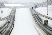 Traffic is sparse on both directions on I-20 even though the road is clear on Friday. A blanket of snow covered East Texas making driving challenging and leaving countlesas homes without power as a winter storm moved East through the region. photo: Jaime R. Carrero/Tyler Morning Telegraph