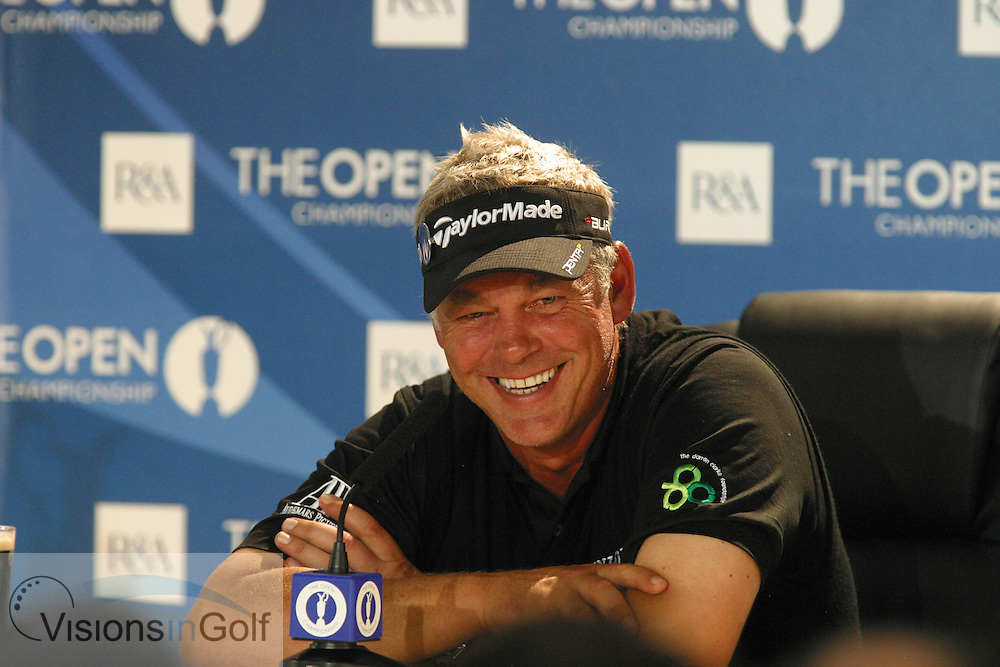 Darren Clarke after winning speaking in a press conference at The Open Championship 2011<br /> Mandatory Picture Credit: Harry Newcombe / visionsingolf.com