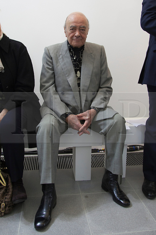 © Licensed to London News Pictures. 17 February 2014, London, England, UK. Former Harrods-owner Mohammed Al-Fayed attends the Issa show during London Fashion Week AW14 at the Serpentine Sackler Gallery. Photo credit: Bettina Strenske/LNP