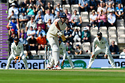 Alastair Cook of England faces the first ball of the day during the first day of the 4th SpecSavers International Test Match 2018 match between England and India at the Ageas Bowl, Southampton, United Kingdom on 30 August 2018.