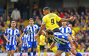 Watford Troy Deeney heads at goal during the Sky Bet Championship match between Watford and Sheffield Wednesday at Vicarage Road, Watford, England on 2 May 2015. Photo by Phil Duncan.