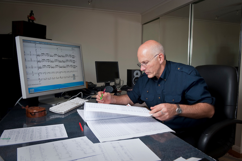 Composer and conductor, Nigel Westlake in his studio in Sydney, NSW, Australia. .Nigel Westlake will be conducting a personal requiem, Missa Solis, a 'Mass for the Sun' as a tribute to his son, Eli, who was killed in 2008.