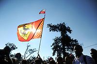 Fans and Ferrari flag.<br /> Italian Grand Prix, Saturday 6th September 2014. Monza Italy.