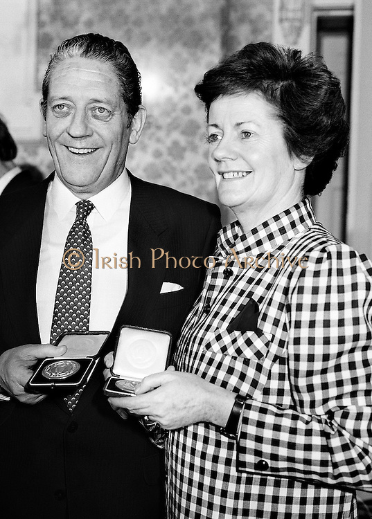Members of the new government, Mary O'Rourke and her brother Brian Lenihan proudly display their seals of office.<br />