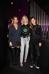 Left To Right, Laura Pradelska, Ashley James and Charlotte de Carle at the STK Ibiza themed brunch party at STK London, London, England. 7 May 2017.<br /> Photo by Dominic O'Neill/SilverHub 0203 174 1069 sales@silverhubmedia.com