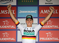 Pascal Akermann celebrates after winning The Prudential Ride London Classic in a time of 4hrs 20mins 11secs. The Prudential RideLondon Classic. Sunday 29th July 2018<br /> <br /> Photo: Ian Walton for Prudential RideLondon<br /> <br /> Prudential RideLondon is the world's greatest festival of cycling, involving 100,000+ cyclists - from Olympic champions to a free family fun ride - riding in events over closed roads in London and Surrey over the weekend of 28th and 29th July 2018<br /> <br /> See www.PrudentialRideLondon.co.uk for more.<br /> <br /> For further information: media@londonmarathonevents.co.uk
