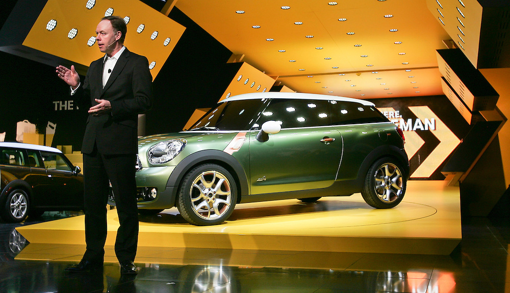 GR --- Detroit, Michigan ---11-01-10---  Ian Robertson, Member of the Board of Management of BMW AG shows the mini Paceman concept  at the company's press conference at  the North American International Auto Show in Detroit, Michigan January 10, 2011.<br /> Geoff Robins AFP