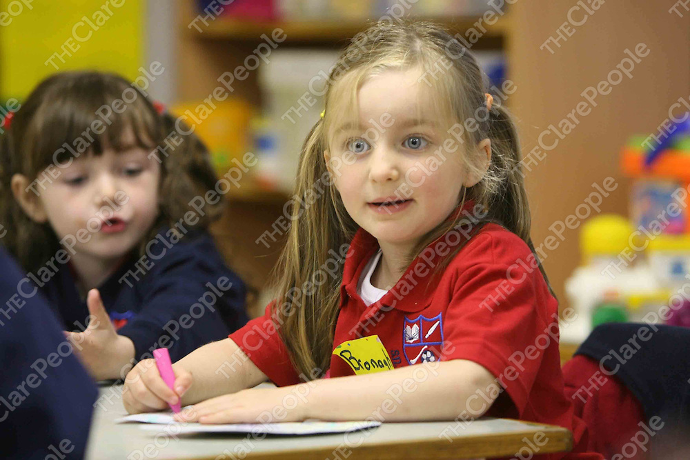 Leigheara Grimes and Bronagh O'Sullivan on their  first day at school at Scoil na Maighdine Mhuire,Newmarket.<br /> <br /> Photograph by Eamon Ward