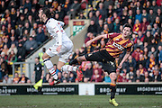 Tom Thorpe (Bolton Wanderers) is caught in the air by Josh Cullen (Bradford City) during the EFL Sky Bet League 1 match between Bradford City and Bolton Wanderers at the Coral Windows Stadium, Bradford, England on 18 February 2017. Photo by Mark P Doherty.