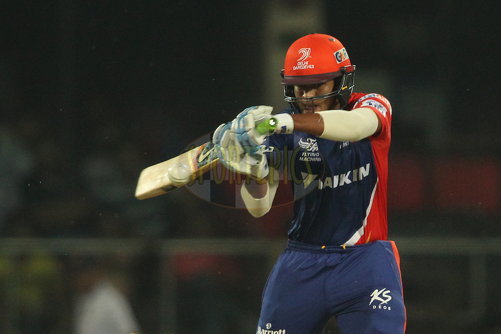 Shreyas Iyer of the Delhi Daredevils square cuts a delivery to the boundary during match 21 of the Pepsi IPL 2015 (Indian Premier League) between The Delhi Daredevils and The Mumbai Indians held at the Ferozeshah Kotla stadium in Delhi, India on the 23rd April 2015.<br /> <br /> Photo by:  Shaun Roy / SPORTZPICS / IPL