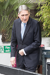 © Licensed to London News Pictures . 05/03/2017 . London , UK . Chancellor PHILIP HAMMOND leaves ITV studios on South Bank after appearing on the Peston on Sunday show . Photo credit: Joel Goodman/LNP