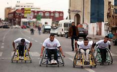 Gaza strip: Palestinian men compete in wheelchair marathon, 29 November 2016