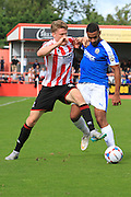Rob Dickie and Stefan Payne during the Vanarama National League match between Cheltenham Town and Dover Athletic at Whaddon Road, Cheltenham, England on 12 September 2015. Photo by Antony Thompson.