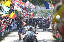 Peloton during the Men's Elite Road Race at the UCI Road World Championships on September 25, 2011 in Copenhagen, Denmark. (Photo by Marjan Kelner / Sportida Photo Agency)