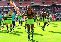 Shamir Mullings of Forest Green Rovers celebrates after the full time whistle  - Mandatory by-line: Nizaam Jones/JMP - 14/05/2017 - FOOTBALL - Wembley Stadium- London, England - Forest Green Rovers v Tranmere Rovers - Vanarama National League Final