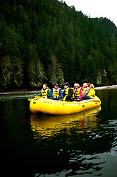 Canada, British Columbia.  Rafting through bald eagles at Brackendale.  Photo #: caneag102..Photo copyright Lee Foster, 510/549-2202, lee@fostertravel.com, www.fostertravel.com