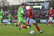 Forest Green Rovers Odin Bailey(42), on loan from Birmingham City shoots at goal during the EFL Sky Bet League 2 match between Forest Green Rovers and Walsall at the New Lawn, Forest Green, United Kingdom on 8 February 2020.