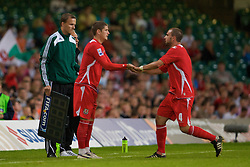 CARDIFF, WALES - Saturday, October 11, 2008: Wales' Carl Robinson replaces Carl Fletcher to win his 50th cap during the 2010 FIFA World Cup South Africa Qualifying Group 4 match against Liechtenstein at the Millennium Stadium. (Photo by David Rawcliffe/Propaganda)