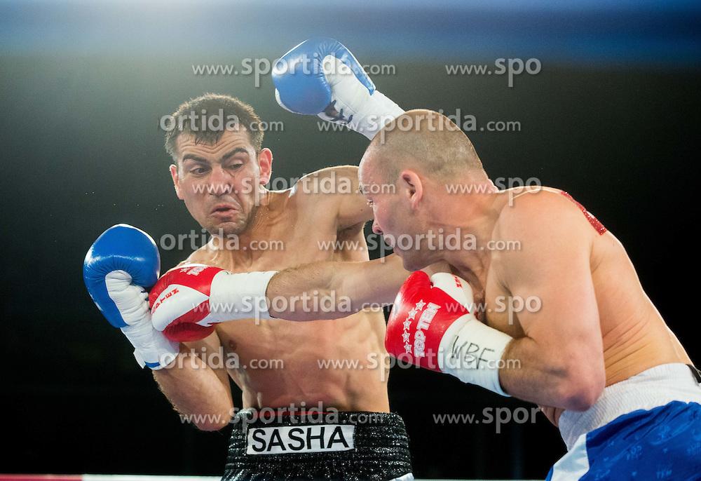 Dejan Zavec alias Jan Zaveck of Slovenia (Red) vs Sasha Yengoyan (Blue) of Belgium at Fight for World WBF Champion during First Class Boxing event, on April 11, 2015 in Arena Tabor, Maribor, Slovenia. Photo by Vid Ponikvar / Sportida