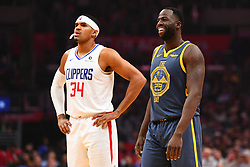 November 12, 2018 - Los Angeles, CA, U.S. - LOS ANGELES, CA - NOVEMBER 12: Golden State Warriors Forward Draymond Green (23) smiles next to Los Angeles Clippers Forward Tobias Harris (34) during a NBA game between the Golden State Warriors and the Los Angeles Clippers on November 12, 2018 at STAPLES Center in Los Angeles, CA. (Photo by Brian Rothmuller/Icon Sportswire) (Credit Image: © Brian Rothmuller/Icon SMI via ZUMA Press)