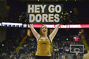 Vanderbilt Commodores Cheerleader entertains fans during the second half of an NCAA basketball game against the Kent State Golden Flashes in Nashville, Tenn., Friday, Nov. 23, 2018. Kent State won 77-75. (Jim Brown/Image of Sport)