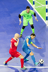 Stefan Rakic of Serbia and Dinmukhambet Suleimenov of Kazakhstan during futsal quarter-final match between National teams of Kazakhstan and Serbia at Day 7 of UEFA Futsal EURO 2018, on February 5, 2018 in Arena Stozice, Ljubljana, Slovenia. Photo by Urban Urbanc / Sportida