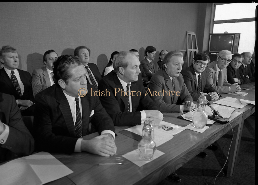Fianna Fáil Front Bench at Press Conference January 1982..1982-01-14.14th January 1982..14/01/1982.01.14.82...Charles Haughey presents his front bench to the waiting media..Pictured at Leinster House..Front row From Left: ..Brian Lenihan TD:..George Colley TD: Deputy Leader and Spokesman on Energy..Charles Haughey TD: Leader of the Opposition..Ray Burke TD: Leader of the House..Sean Moore TD: Spokesman on Social Welfare..Gene Fitzgerald TD: Spokesman on Labour and Public Service..Martin O'Donoghue TD: Spokesman on Finance..Included in back row from left:...First - Sean Doherty TD..Second - Albert Reynolds TD (partial).