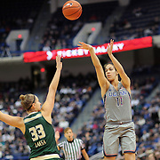 HARTFORD, CONNECTICUT- JANUARY 10: Kia Nurse #11 of the Connecticut Huskies shoots for three while defended by Kitija Laksa #33 of the South Florida Bulls during the the UConn Huskies Vs USF Bulls, NCAA Women's Basketball game on January 10th, 2017 at the XL Center, Hartford, Connecticut. (Photo by Tim Clayton/Corbis via Getty Images)