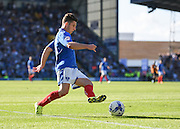 Portsmouth match winner Conor Chaplin on the ball on the penalty area during the Sky Bet League 2 match between Portsmouth and Barnet at Fratton Park, Portsmouth, England on 12 September 2015. Photo by David Charbit.