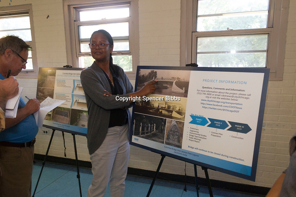 "8669, 8673, 8675 - Project Manager with the Chicago Department of Transportation (CDOT), Tanera Adams talks with residents about the current status of the Darrow Bridge restoration project Tuesday evening, August 22nd, 2017 at the Jackson Park Fieldhouse located at 6400 S. Stony Island.<br /> <br /> Please 'Like' ""Spencer Bibbs Photography"" on Facebook.<br /> <br /> Please leave a review for Spencer Bibbs Photography on Yelp.<br /> <br /> All rights to this photo are owned by Spencer Bibbs of Spencer Bibbs Photography and may only be used in any way shape or form, whole or in part with written permission by the owner of the photo, Spencer Bibbs.<br /> <br /> For all of your photography needs, please contact Spencer Bibbs at 773-895-4744. I can also be reached in the following ways:<br /> <br /> Website – www.spbdigitalconcepts.photoshelter.com<br /> <br /> Text - Text ""Spencer Bibbs"" to 72727<br /> <br /> Email – spencerbibbsphotography@yahoo.com"