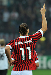 28.09.2011, Stadion Giuseppe Meazza, Mailand, ITA, UEFA CL, Gruppe H, ITA, UEFA CL, AC Mailand (ITA) vs FC Viktoria Pilsen (CZE), im Bild Zlatan IBRAHIMOVIC Milan celebrates scoring on penalty.Esultanza dopo il Gol su calcio di rigore di Zlatan IBRAHIMOVIC. // during the UEFA Champions League game, group H, AC Mailand (ITA) vs FC Viktoria Pilsen (CZE) at Giuseppe Meazza stadium in Mailand, Italy on 2011/09/28. EXPA Pictures © 2011, PhotoCredit: EXPA/ InsideFoto/ Alessandro Sabattini +++++ ATTENTION - FOR AUSTRIA/(AUT), SLOVENIA/(SLO), SERBIA/(SRB), CROATIA/(CRO), SWISS/(SUI) and SWEDEN/(SWE) CLIENT ONLY +++++