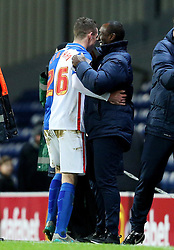 Queens Park Rangers manager Jimmy Floyd Hasselbaink shakes hands with Darragh Lenihan of Blackburn Rovers  - Mandatory byline: Matt McNulty/JMP - 12/01/2016 - FOOTBALL - Ewood Park - Blackburn, England - Blackburn Rovers v QPR - SkyBet Championship