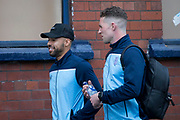 30th August 2019; Dens Park, Dundee, Scotland; Scottish Championship, Dundee Football Club versus Dundee United; Kane Hemmings and Jack Hamilton of Dundee make the short walk from Dens Park to Tannadice