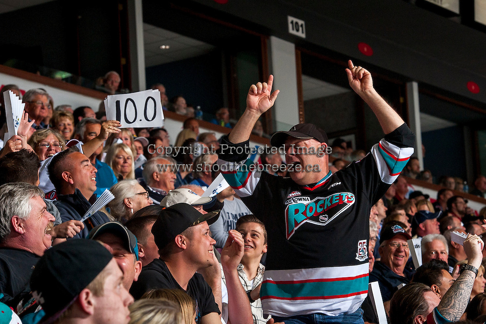 KELOWNA, CANADA - APRIL 22: A fan dances in the stands on April 22, 2016 at Prospera Place in Kelowna, British Columbia, Canada.  (Photo by Marissa Baecker/Shoot the Breeze)  *** Local Caption *** fan