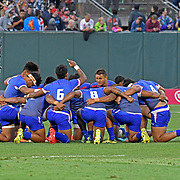 Manu Samoa prepares to take on England for their 2nd game, which in Samoa fans had an extremely questionable outcome, at the World Cup 7's USA, AT&T Park, San Francisco, California, USA.  Photo by Barry Markowitz, 7/20/18, 8pm