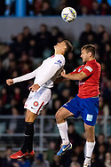 Western Sydney Wanderers forward Oriol Riera (9) and Bonnyrigg White Eagles defender David Vrankovic (3) at the FFA Cup Round 16 soccer match between Bonnyrigg White Eagles FC v Western Sydney Wanderers FC at Marconi Stadium in Sydney.